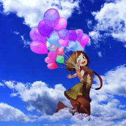 freetoedit uraraka sky blue clouds