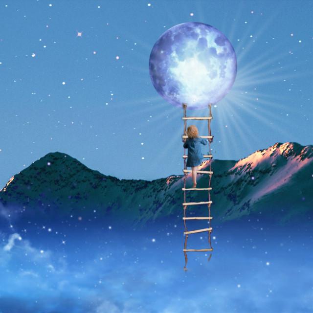 #freetoedit #mountain #moon #blue #surreal #myedit