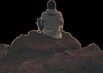sticker boy cliff sitting hill freetoedit