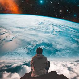 freetoedit background galaxy sky space star stars remix man mountain rock planet creative visual surreal