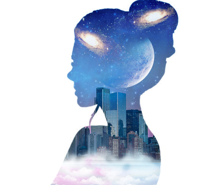 #freetoedit #doubleexposure #overlay #silhouette #sky #galaxy #stars #blue #moon #city #pink #clouds