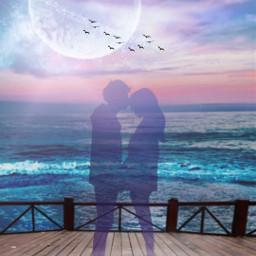 freetoedit beach seaside couple love