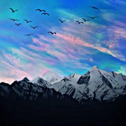 freetoedit montañas cielo pajaros paisaje