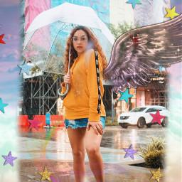 rainbow umbrellagirl freetoedit