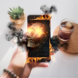freetoedit surreal cellphone fire flames ircscreenremix screenremix