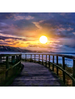 ftestickers background lakeside pathway sunset freetoedit
