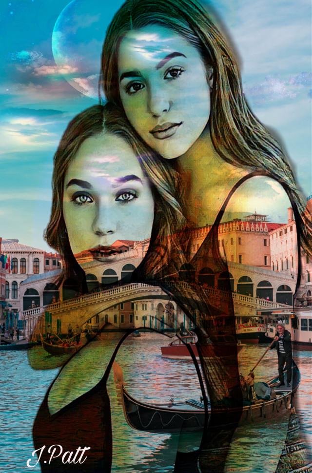 #freetoedit#girls#emotions#skyand clouds#boatsinwater#buildings#moon#color#myeditoffreetoedit