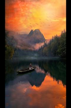 freetoedit ftestickers boat lake clouds