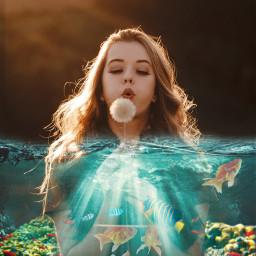 freetoedit water girl fish ircmakeawish