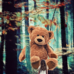 freetoedit dream surreal forest bear
