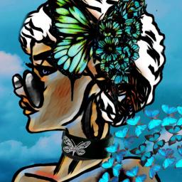 freetoedit woman butterfly butterflies hole ircgetcreative
