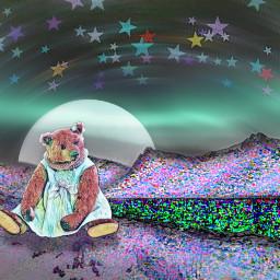 picsart goodvibes love teddybear night freetoedit ircmountains