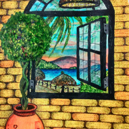 artistmafia ventana paisaje arte acuarela