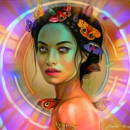 freetoedit butterflies woman neon remixofmyremix srcgalaxyaway