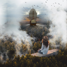 freetoedit landscape ship foggy sittinggirl