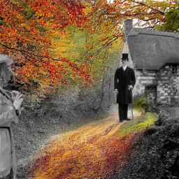 freetoedit cottage blackandwhite atouchofcolor fall