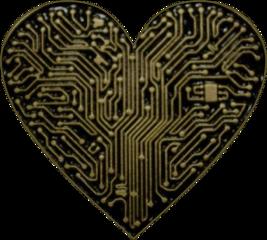 freetoedit heart circuitboard gold black