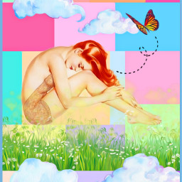 freetoedit pop pinup flowers clouds