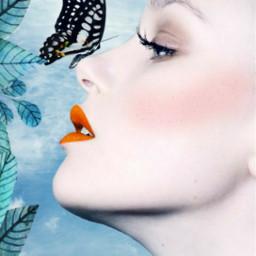 freetoedit frame frameremix woman butterfly srcframeremix