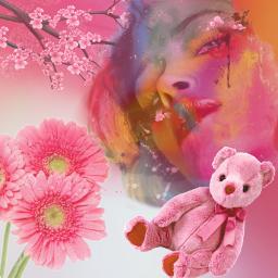 freetoedit prettyinpink teddybear flowers