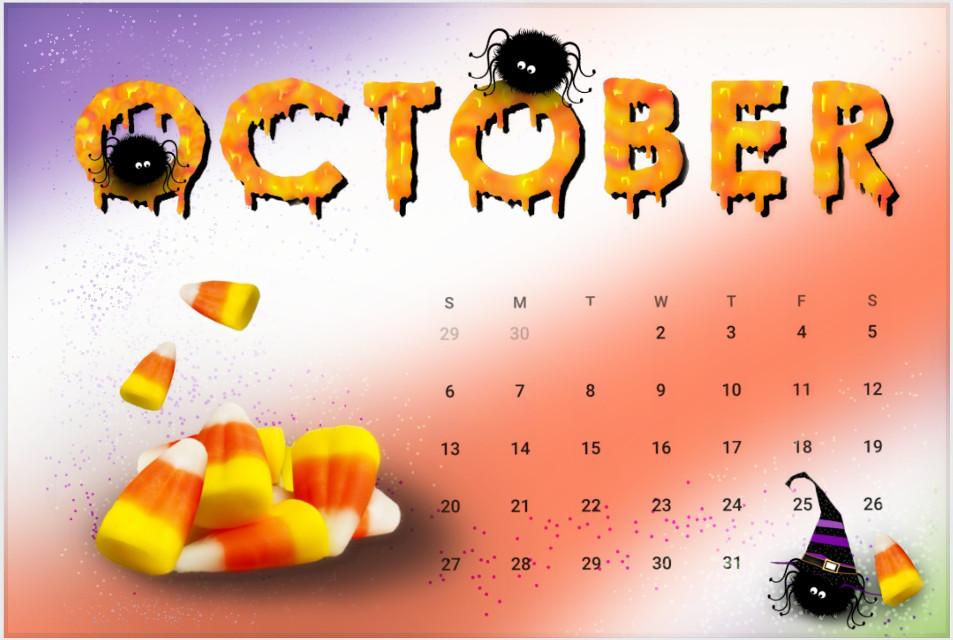 #freetoedit #calendar #october #cute #candycorn #spiders
