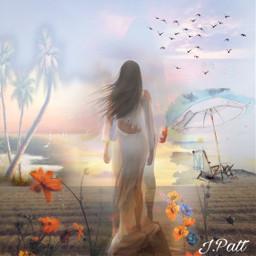 freetoedit female sihlouette sand flowers myeditoffreetoedit