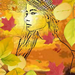 freetoedit fall foliage girl leaves
