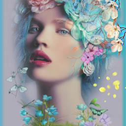 freetoedit female flowerhead colorful butterflies myeditoffreetoedit
