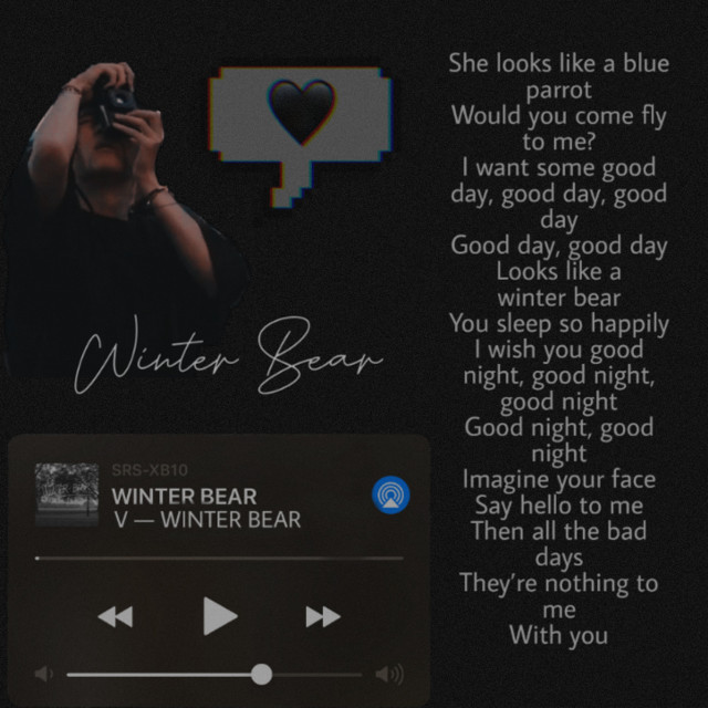 #winterbear #v #bts #btsv #aesthetic #vintage #loveyou #music #black