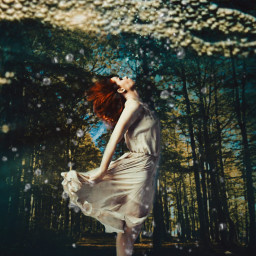 freetoedit underwater forest woman levitation