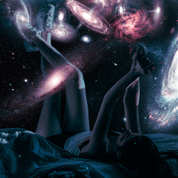 myedit galaxyedit galaxy universe cosmos girl bed dreamy stars planets nebula surreal unsplash