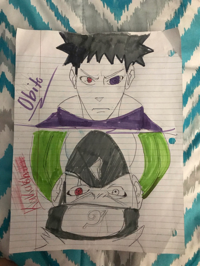 Obito and kakashi sketch i did during school :)