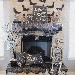 freetoedit halloween fireplace decor bats