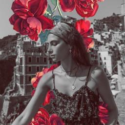 flower flor blackandwhite mask girl freetoedit