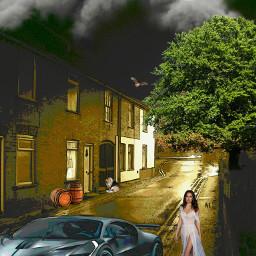 street buildings township woman car freetoedit