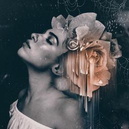 freetoedit blackandwhite flower darkmood portrait