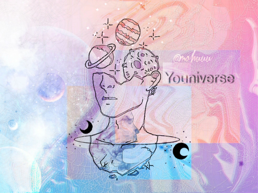 """""""Youniverse"""" Stop comparing  yourself with others . Stop copying others , Stop plagiarism ,  when you have your own mind , soul , imagination , creativity .You have universe in YOU , it's Youniverse , don't make yourself like someone .💜  Hope you got the point .💛    Editing credits — """"mohuuu"""" (me & mu.c)    Background  image is made from my photography  Infires by BTS 😂 Thanks to sticker owners.💜 #background  #galaxy  #universe  #original  #freetoedit"""