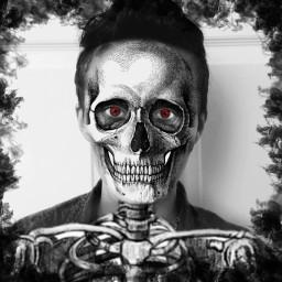 skeleton halloween horror red bw freetoedit