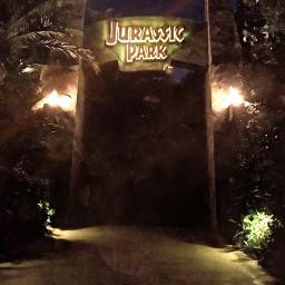 night jurassic jurassicpark jurassicparksign palmtrees freetoedit
