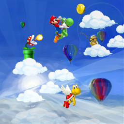 freetoedit mario videogame computergames hotairballooon srcclouds