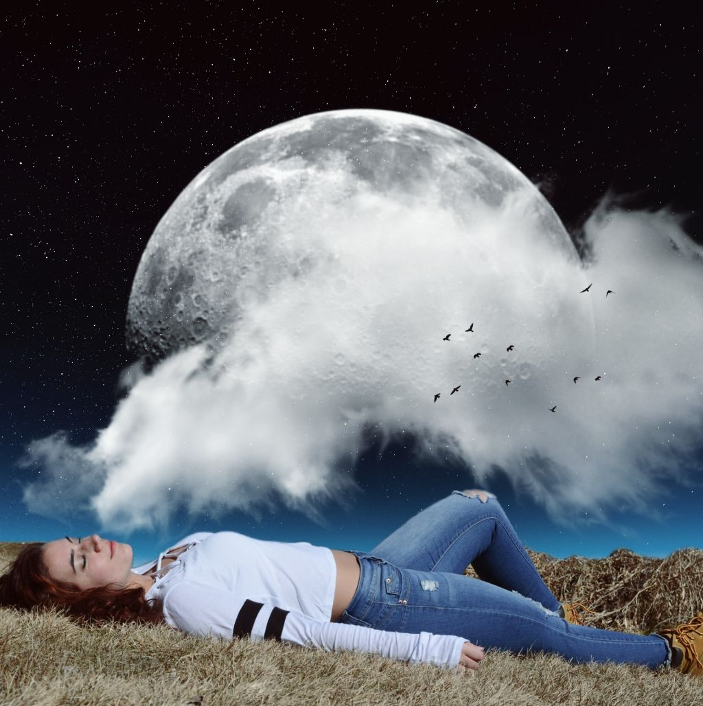 #freetoedit #woman #grass #surreal #picsart #madewithpicsart #sun #galaxy #stars #surreal #clouds #moon #planet