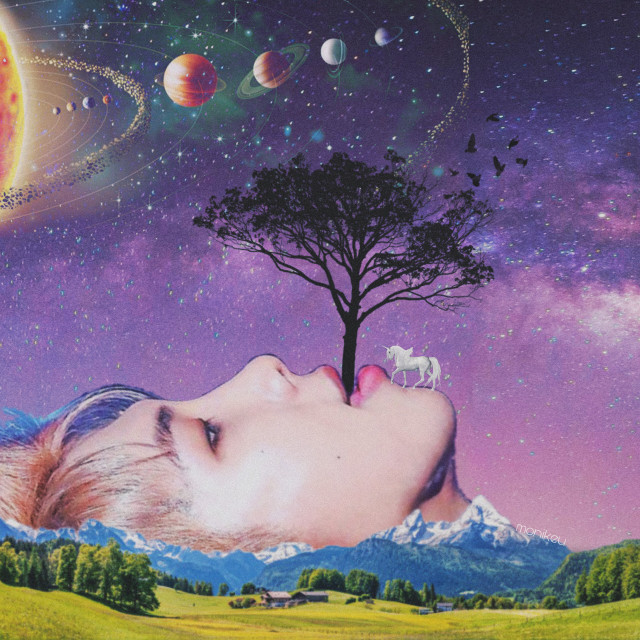 I've had to redo this three times because PicsArt kept crashing on me, but I finally got to finish it! Uploading before the app crashes again. Here's Father Nature Namjoon, who is birthing the tree of life. The tree of life which exists where the Earth begins and ends, where humankind exists and doesn't exist. #freetoedit #bts #bangtan #rm #namjoon #army #kimnamjoon #kpop #universe #edit #mountain