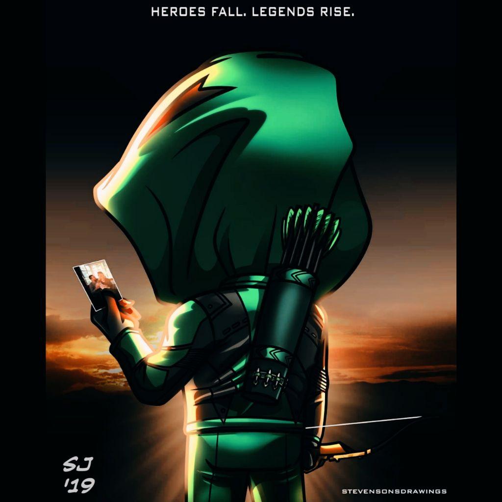 Stevensondrawings: Heroes Fall. Legends Rise  Arrow Season Final  #Arrow #cwarrow #Arrowcw #Heroe #Legend #Fanart #Art #arrowseason8 #arrowseasonfinal #green #dark #dccomics #crisis #picsart #edit  #freetoedit