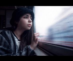 woman girl looking travelling window freetoedit