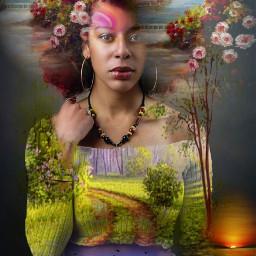 freetoedit female redhair flowers blueskies myeditoffreetoedit