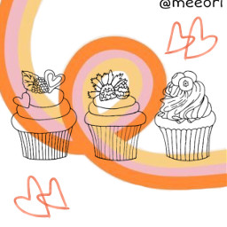 irccupcakes cupcakes freetoedit orange squiggle