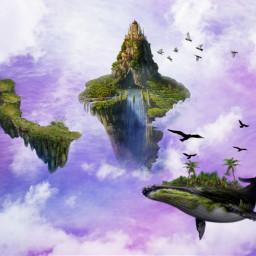 freetoedit aziz vipaziz sky iceland waterfall clouds floatingisland whale nature fantasy fly flying birds pigeon cloud