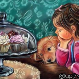 freetoedit girl dog cupcakes cupcakestickers stickersfreetoedit irccupcakes