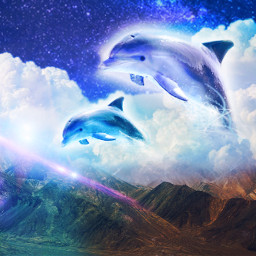 freetoedit dolphins aesthetic clouds 3dart