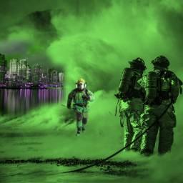freetoedit picsart city smoke firefighter